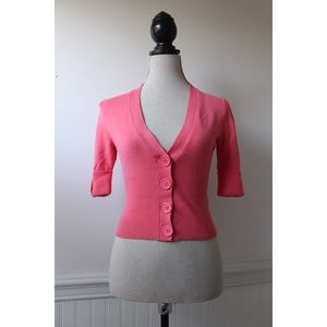 Takeout Coral Pink Fitted Button Down Cardigan